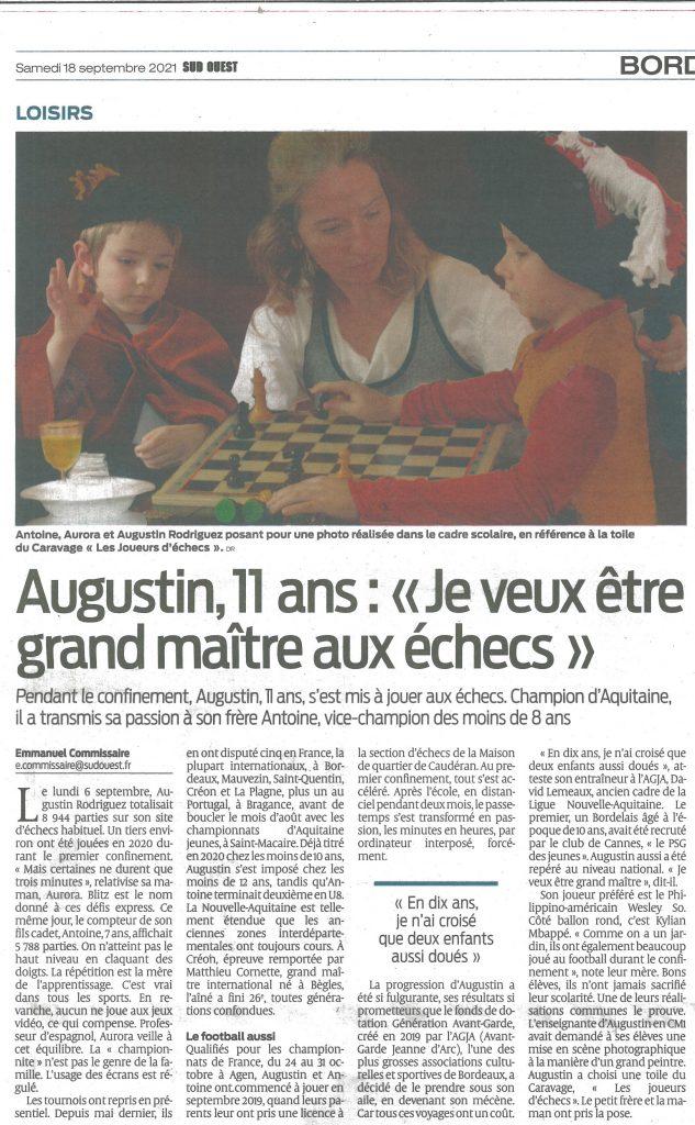 AGJA article Sud Ouest Jeune talent Augustin